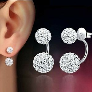 Stunning Modern Silver Earrings Clear Crystals